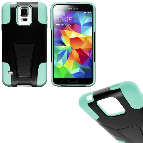 Mylife Electric Mint Green And Dark Coal Black - Neo Hybrid Series (Built In Kickstand) 2 Piece + 2 Layer Case For New Galaxy S5 (5G) Smartphone By Samsung (External Hard Fit Armor With Built In Kick Stand + Internal Soft Silicone Rubberized Flex Gel Bump