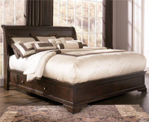 best price ashley leighton cal king sleigh platform bed in cherry for sale king platform beds. Black Bedroom Furniture Sets. Home Design Ideas