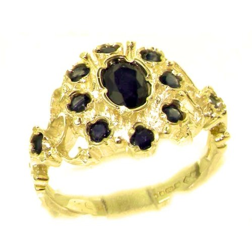 Unusual Solid Yellow Gold Natural Sapphire Ring with English Hallmarks - Size 6.25 - Finger Sizes 5 to 12 Available