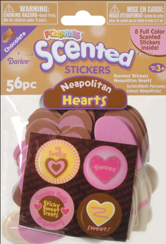 Foam Scented Stickers 56/Pkg-Neapolitan Hearts