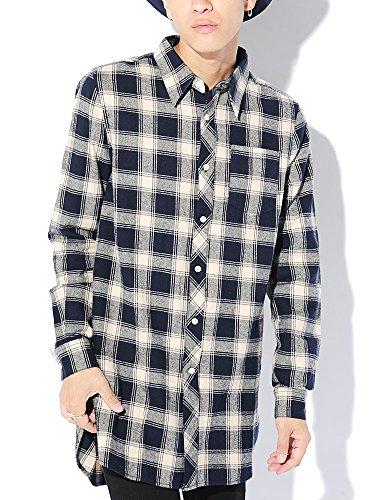 ネイビー L (ベストマート)BestMart ストリート系 サイドスリット ロング丈 チェックシャツ ネルシャツ メンズ 長袖 チェック柄 ロングシャツ 621361-006-601