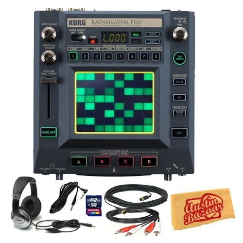 Korg KAOSSILATOR PRO Dynamic Phrase Synthesizer/Loop Recorder Bundle with 8 GB SD Card, 10-Foot MIDI Cable, RCA Cable, 10-Foot Instrument Cable, Headphones, and Polishing Cloth