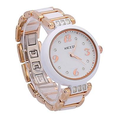 Fashion White Ceramic Quartz Watches For Women With Rose Gold Bracelet And Rhinestone