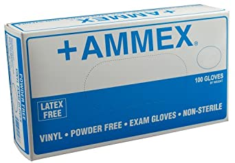 Ammex VPF Vinyl Glove, Medical Exam, Latex Free, Disposable, Powder Free, X-Large (Case of 1000)