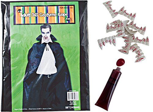 Adult Dracula Costume-Cape Bundle-3 Item:Vampire Cape,10 Bloody Fangs,Fake Blood