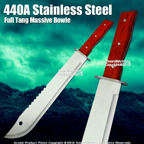 Full Tang Massive Bowie Style Jungle Machete Fixed Blade Knife Dagger w/ Sheath