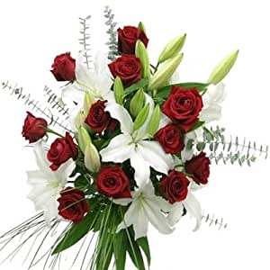 Amazon.com : Red Roses and White Lilies Bouquet : Fresh