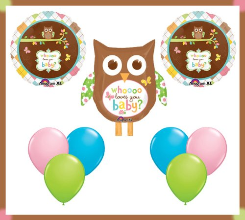 Cute Hippie Owl Who Loves You Baby Party Balloon Set