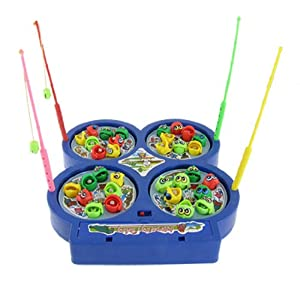Children 4 four rotary disks electronic magnetic fish for Electronic fishing game