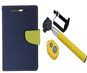 Novo Style Wallet Case Cover For Motorola Moto E3 Blue + Selfie Stick with Adjustable Phone Holder and Bluetooth Wireless Remote Shutter