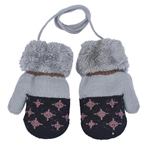 Fineshow Children's Super Soft Cotton Warm Thermal Gloves For 0-12 Months Baby (Black)