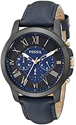 Fossil Men's FS5061 Grant Black Stainless Steel Watch with Blue Leather Band