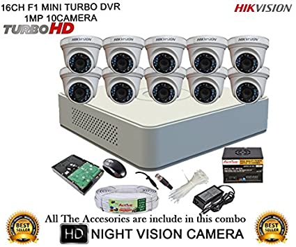 Hikvision-DS-7116HGHI-F1-Mini-16CH-Dvr,-10(DS-2CE56COT-IRP)-Dome-Camera-(with-Mouse,-2TB-HDD,-Bnc&Dc-Connectors,Power-Supply,Cable)