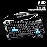 E-More® High Quality V60 Waterproof 2.4G Wireless Gaming Keyboard with Mouse DPI Control For DESKTOP PC Laptop Wireless Keyboard Mouse Combos (Black)