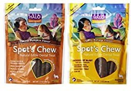 Halo Spot\'s Chew Natural Edible Dental Treat 2 Flavor Variety Bundle: (1) Spot\'s Chew Yummy Pumpkin Flavor, and (1) Spot\'s Chew Nutty Banana Flavor, 7.2 Oz Ea (2 Bags Total)
