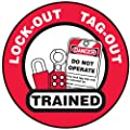 "Accuform Signs LHTL344 Adhesive Vinyl Hard Hat/Helmet Safety Message Label, Legend ""LOCK-OUT TAG-OUT TRAINED"" with Graphic, 2-1/4"" Diameter, Black/Red on White (Pack of 10)"