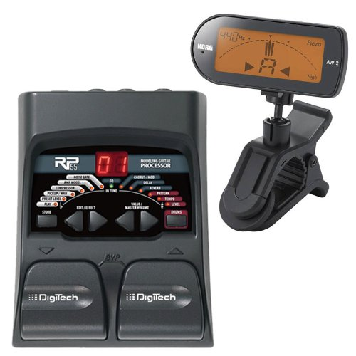 Digitech Rp55 Guitar Multi Effects With Korg Aw2G Clip On Chromatic Guitar Tuner