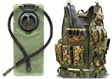 Ultimate Arms Gear Marpat Woodland Digital Camo Tactical Scenario Military-Hunting Assault Vest w/ Right Handed Quick Draw Pistol Holster and Heavy Duty Mag Pouch Belt + OD Olive Drab Green 2.5 Liter / 84 oz. Replacement Hydration Backpack Water Bladder Reservoir - Includes Hosing And Hands Free Bite Valve