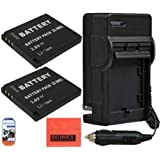 2 Pack Of NB-8L Replacement Batteries & Battery Charger Kit for Canon PowerShot A2200 IS A3000 IS A3100 IS A3300 ISDigital Camera Includes Battery + AC/DC Battery Charger + LCD Screen Protectors + Cleaning Cloth