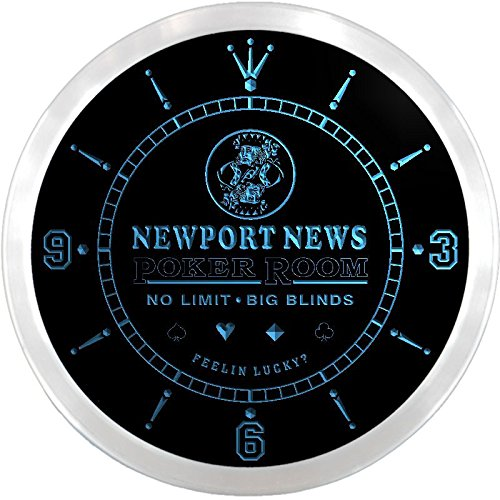 Ncpd2178-B Newport News Poker Casino Room Beer Bar Led Neon Sign Wall Clock