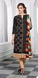 V-Kart Women's Cotton Unstitched Dress Material (Vkart_319_Black_Free Size)