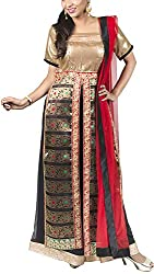 Deveesha Batra Women's Brocade & Georgette Regular Fit Salwar Suit (DB201525_S, black and red , S)