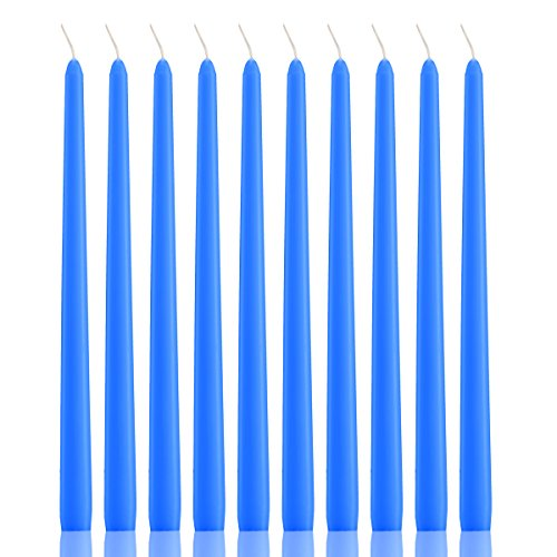 Dripless Taper Candles Dinner and Wedding Candles 12 Inches Tall - Set of 12 (Blue)