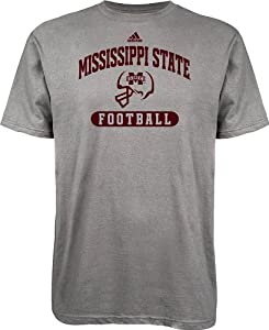 Buy adidas Mississippi State Bulldogs Football T-Shirt - Grey by adidas