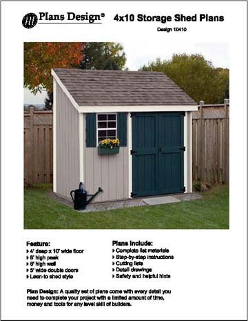 4 39 x 10 lean to storage shed project plans design 10410 for Shed project