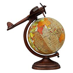 EnticeSelections Antique Handicrafted Big Desktop AirPlane Rotating Globe Earth Geography World Globes Ocean Table Decor 8 Inch