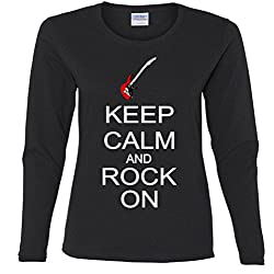 Keep Calm and Rock On Missy Fit Long Sleeve T-Shirt