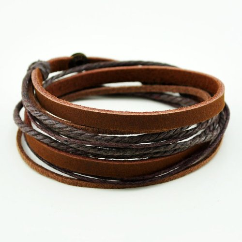 Brown Leather Wristband cuff bracelet, friendship