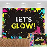 Glow Neon Splatter Photography Backdrop Vinyl Glowing in The Dark Party Decoration Teens Let's Glow Birthday Banner Photo Background Supplies Photo Booth Studio Props 5x3ft (Color: yellow glow, Tamaño: 5x3ft)