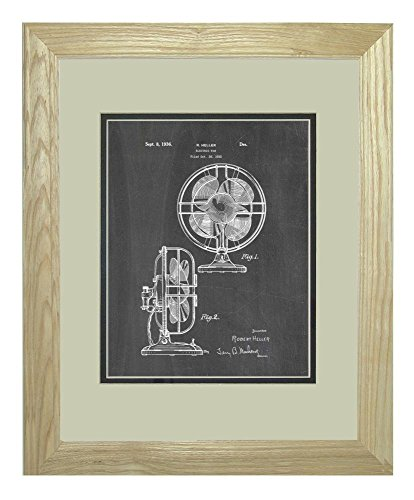 """Design For An Electric Fan Patent Art Chalkboard Print In A Natural Raw Wood Frame (11"""" X 14"""")"""
