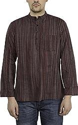 Svanik Men's Waist-Long Cotton Kurta (SVSK1560_Large_Black)