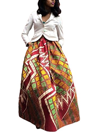 Women's African Printed Pleated Maxi Dress High Waist A Line Skirt Red X-Large