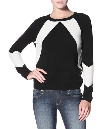 Shae Women's Cashmere Diagonal Colorblock Sweater  [Warm White/Black]