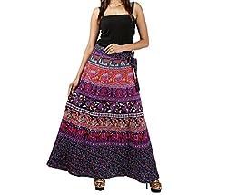 FEMEZONE Skirt Women's Cotton Regular Fit Wrap Skirt (Red & Purple)