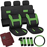 OxGord 21pc Set Flat Cloth Green & Black Auto Seat Covers Set - Airbag Compatible - Front Low Back Buckets - 50/50 or 60/40 Rear Split Bench - 5 Head Rests - 1 Steering Wheel Cover - Universal Fit for Car, Truck, Suv, or Van - FREE Red Carpet Floor Mats