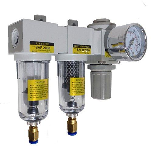 Air Pressure Regulator Combo 3//8 NPT Poly Bowl PneumaticPlus SAU330-N03G Three Stage Air Drying System Particulate Air Filter Coalescing Filter Bracket Manual Drain Gauge