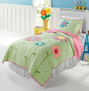 Green, White & Pink Polka Dots & Flowers 2 Pc Twin Quilt & Sham Set