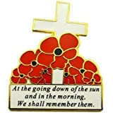Remembrance Day White Cross and Red Poppy Flower Lapel Pin Badge REMEMBER THEM UK SELLER
