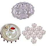 GS MUSEUM Silver Plated Rani Kumkum Plate, Silver Plated 4 Inchi Pooja Thali Nag And Silver Plated Set Of 12 Flower...
