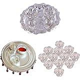 GS MUSEUM Silver Plated Rani Kumkum Plate, Silver Plated 4 Inchi Pooja Thali Nag And Silver Plated Set Of 12 Flower...