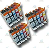 15 Chipped PGI-520 & CLI-521 Compatible Ink Cartridges for Canon Pixma MP620 Printer