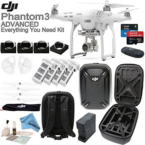 DJI Phantom 3 Advanced w/ eDigitalUSA Everything You Need Kit - Hardshell Backpack + 4 Filters + 4 Batteries + Charging Hub (Charges 4 batteries at once!) + more...