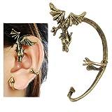 Gleader Pendientes de Clip, Dragon de Vuelo Estilo Gotico - Color Bronce