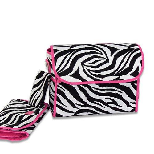 Luggage 5514 Diaper Bag Zebra Fuchsia Trim SWT14