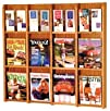 Twelve-Slot Wall Mount Magazine Rack in Oak w Removable