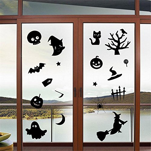 JHD Halloween Wall Decals Stickers for Windows,Wall DIY Halloween Party colorful PVC Decorative Bats Stars Wall Decal Sticker, Eve Decor Home Decoration Ghost, Witch, Elfin, Pumpkin (JHD-Halloween 1) (Windower compare prices)
